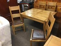 Solid oak extending dining table & 4 chairs *free delivery*