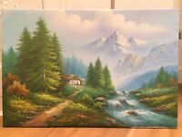 Painting Montain/Forest landscape 90x60cm