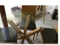 Dining table and four chairs.solid oak nest of tables,display unit and coffee table