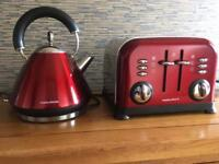 Morphy Ricards toaster & kettle in Red