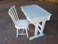 Whitewashed wooden desk & chair set
