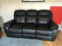 Three seater leather reclining settee