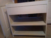 White Mothercare wooden baby changing table with drawer
