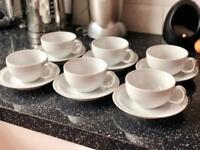 Denby White Tea Cups and Saucers x 6 RRP £90