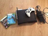 Xbox 360 black 2 games 1 controller