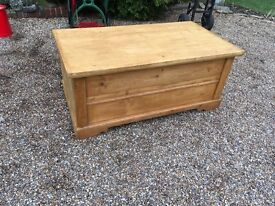 Large vintage solid pine chest 128.cms x 69 cms x 55cms high