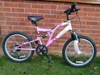 """Girls lovely 20"""" wheel full suspension mountain bike"""