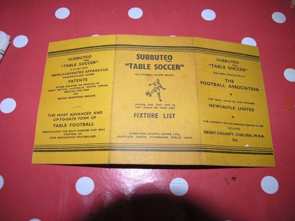 Subbuteo Vintage Table Soccer Fixture List On Yellow Card