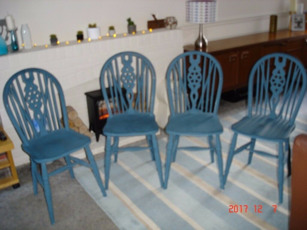 Set of four vintage dining chairs painted in Annie Sloan Provence Blue