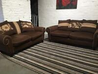Ex display brown fabric sofa set (3+2)