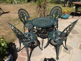 CAST ALUMINIUM GARDEN / PATIO SET -- TABLE AND 4 CHAIRS --