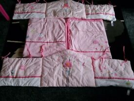 Baby girl mothercare cot/cotbed quilt & bumper ml5