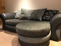 Grey DFS x3 seater sofa with matching large swivel chair, excellent condition - not even a year old