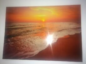 Sunset Waves Wall Art Canvas