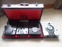 pioneer cdj 350 x2 with djm350 mixer in a red pioneer flight case also a denon dn-s3500.