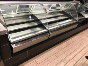 Deli closed ! Approximately 11ft of curve glass display fridge cooler all 3 cases for only $6500 Retails over new$20k+