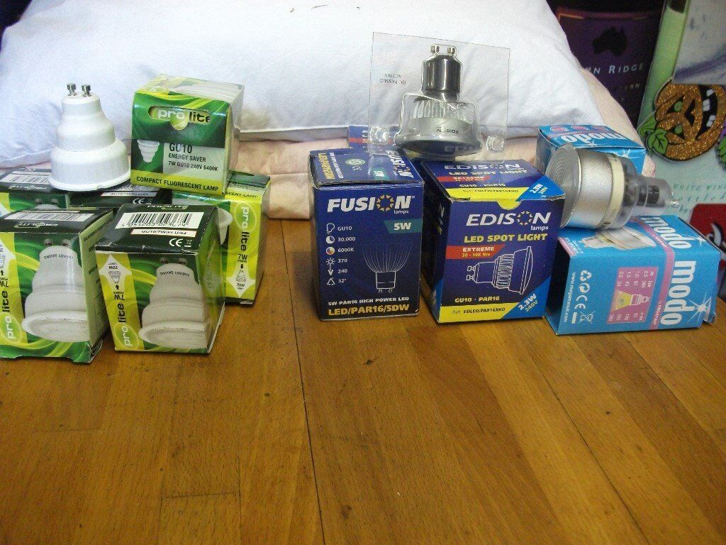 GU 10 LAMPS ALL NEW IN BOXES VARIOUS 12 LAMPS