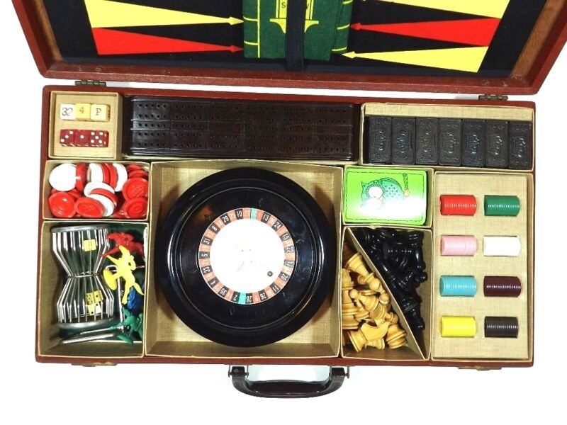 Vintage Gaming Set Attache Case Roulette Chess Dominos Cribbage Backgammon