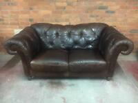 Natuzzi Vintage Style Brown Leather Chesterfield Sofa - UK Delivery