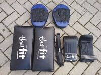 Boxing gloves, mitts and kick boxing pads