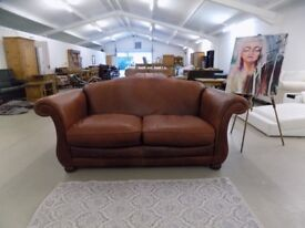 Laura Ashley Penhurst Brown Antiqued Leather 2 Seater Sofa