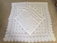 "Beautiful Vintage White Tablecloth with Deep Crochet Lace Edge (48"" x 50"")"