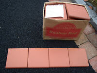 """CERAMIC TILES (36) BRICK RED,FRONT DOOR STEP,6"""" X 6"""", rounded edge & corner NEW NEVER USED, £10"""
