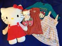 Hello Kitty set of dresses, tshirt and toys
