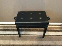Piano Stool with Black Polished Base & Black Top