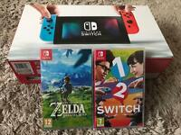 Neon Nintendo switch with 2 games including xelda