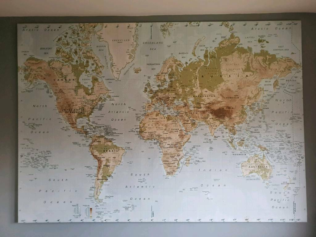Ikea World Map Wall Large Picture Canvas & frame 140cmx200cm 78\
