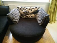 DFS 4 seater sofa, chair and cuddle swivel chair