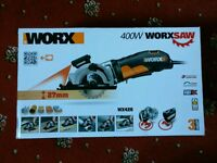 Sealed, new Worxsaw 400w Plunge Saw with Laser Guide and hard carry case