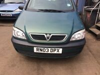 2003 Vauxhall Zafira 16v Club MPV Petrol 1.6L Green BREAKING FOR SPARES