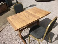 SOLID WOODEN TABLE AND 2 CHAIRS VERY TIDY