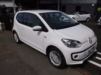 Volkswagen UP! 1.0 High Up 3dr 2014 (14 reg), IN WHITE, IMMACULATE ONE OWNER CAR, 16600 MILES, FSH
