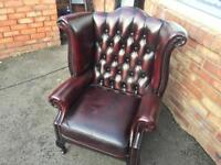Chesterfield wing chair oxblood