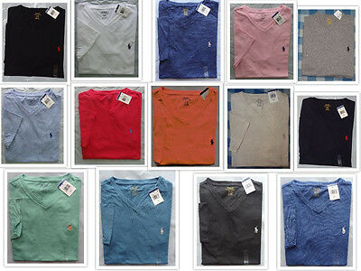 Polo Ralph Lauren New NWT V NECK Logo T Tee Shirt Assorted Colors S M L XL XXL