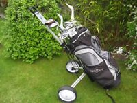 RAM GOLF CLUBS IN BAG WITH TROLLEY