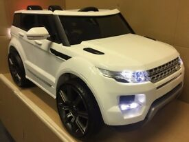 2017 RANGE ROVER EVOQUE 12v KIDS RIDE IN CAR WHITE LARGE 3-7yrs with REMOTE CONTROL