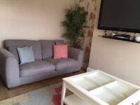 grey four piece sofa set with ikea glasstop table and next rug with matching curtains