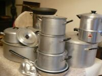 Vintage Aga/triangle catering size saucepans Good usable condition Bargain buy compared to new £250