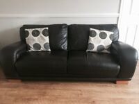 3 & 2 seater dark brown leather sofas