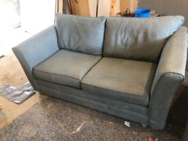 2 seater Sofa bed and armchair blue fabric MUST GO