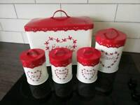 Kitchen storage canisters and bread bin