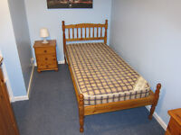 Antique Pine bedroom furniture - bed, bedside unit, wardrobe, drawers, dressing table and chair