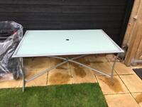 Large frosted glass outdoor table