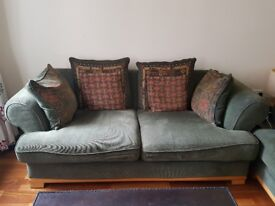 Green fabric 2 seater sofa x2 - very good condition