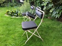 3 PRE-LOVED ORIGINAL RETRO VINTAGE MID- CENTURY MODERN, FOLDING-FRAME CHAIRS VINYL BACKS & SEATS