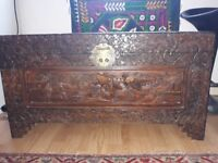 Antique (detailed) hand carved wooden african chest in lovely condition